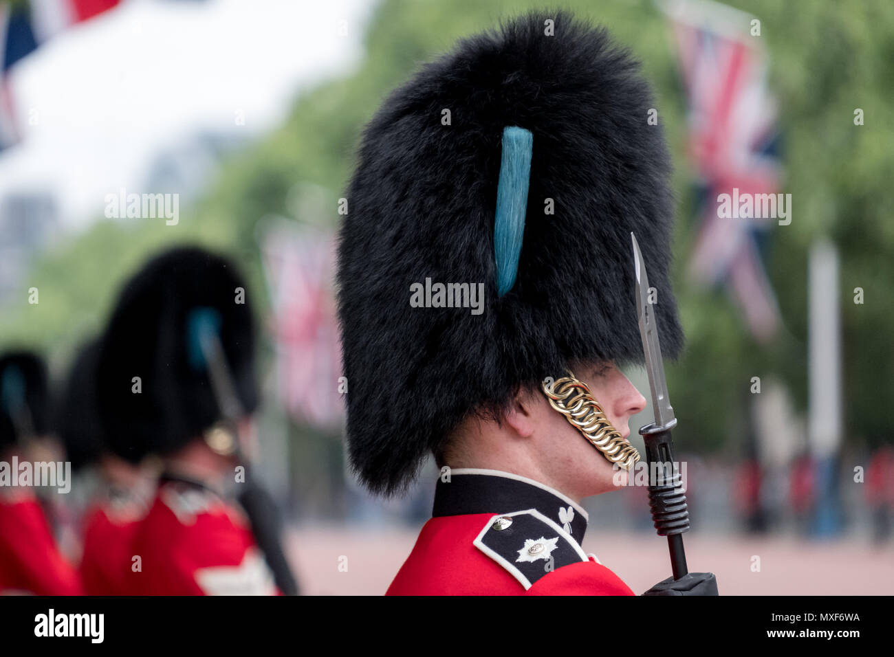 Amid tight security, guardsmen in red and black uniform and bearskins line The Mall during the annual Trooping the Colour military ceremony. - Stock Image