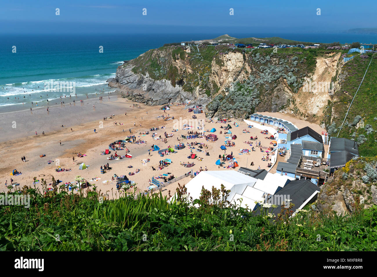 early summer at lusty glaze beach, newquay, cornwall, england, britain, uk, - Stock Image