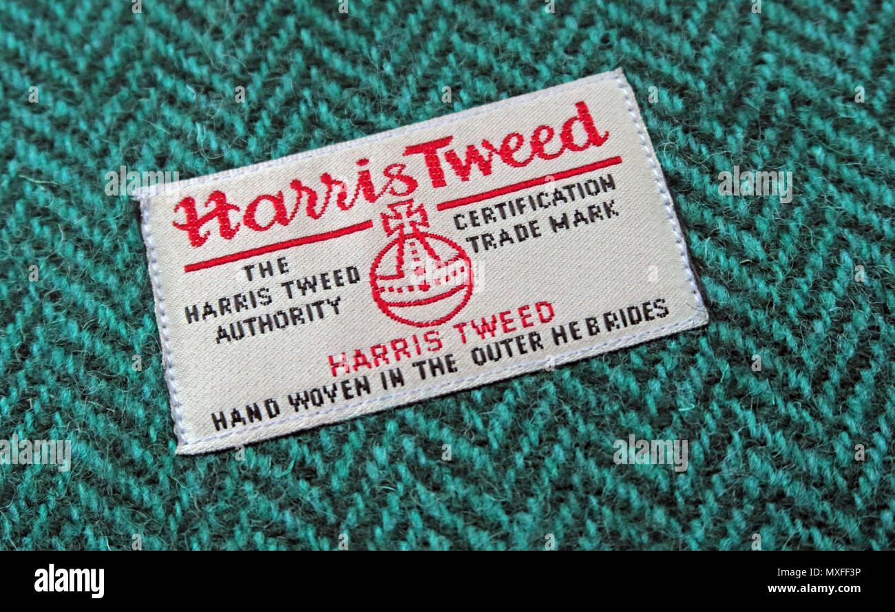 Harris Tweed Authority, Certified Trade Mark, Hand Woven in the Outer Hebrides- - Stock Image