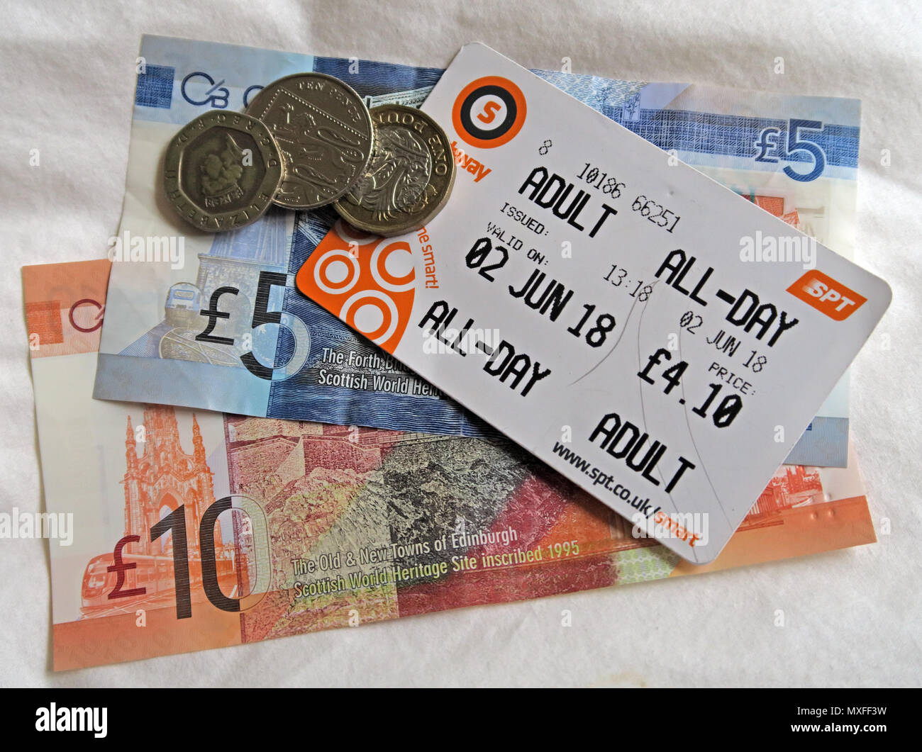Glasgow Metro SPT Adult All-Day metro travelcard, with Scottish Sterling Notes Currency)- - Stock Image