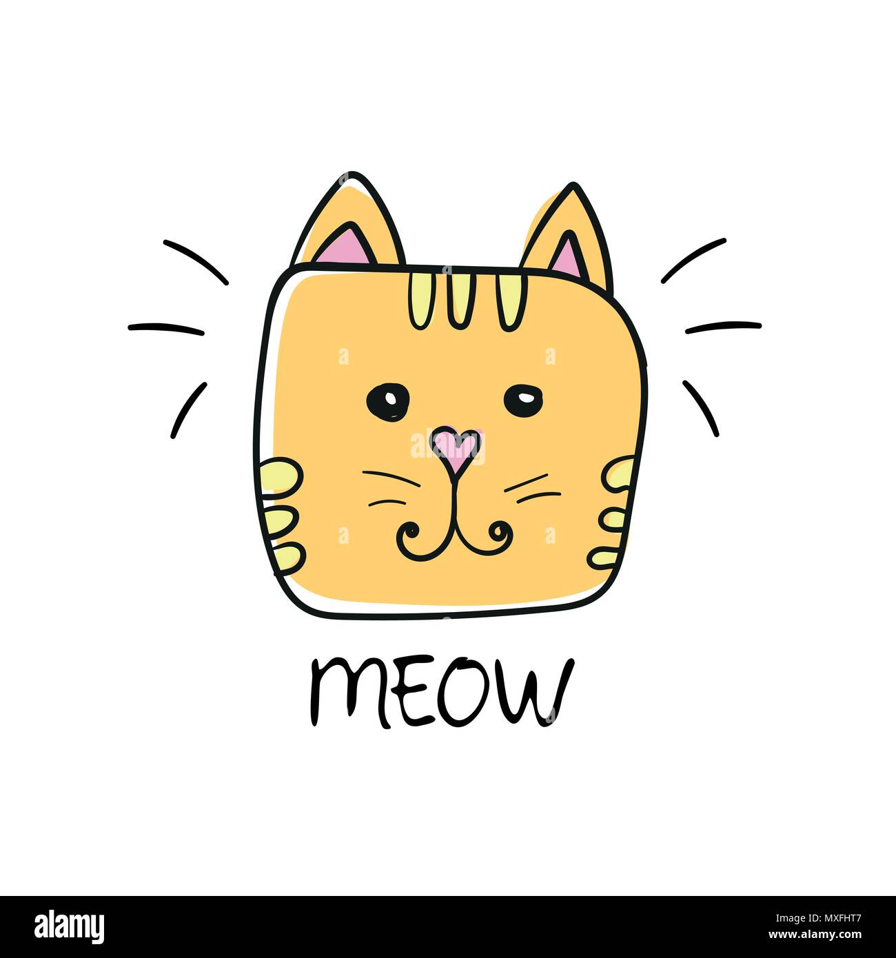 Cute Cat Face Drawing And Meow Sign Vector Textile Graphic T