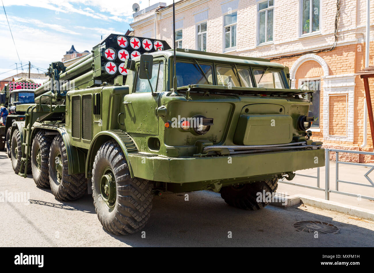 [100% Home made] ZIL 135 Samara-russia-may-5-2018-russian-self-propelled-multiple-rocket-launcher-system-bm-27-uragan-hurricane-on-zil-135-chassis-at-the-city-street-be-MXFM1H