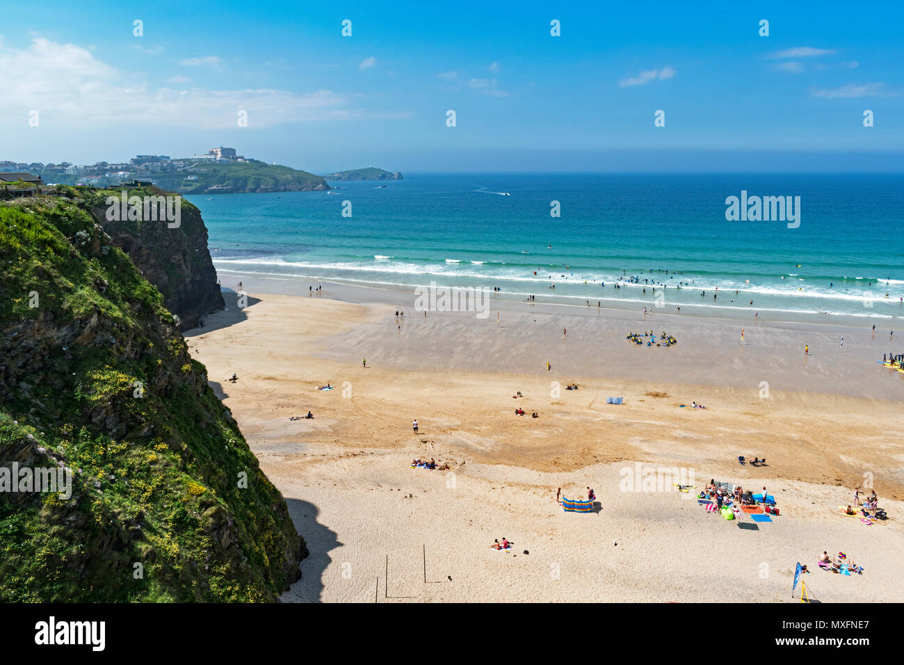 early summer at tolcarne beach, newquay, cornwall, england, britain, uk, - Stock Image