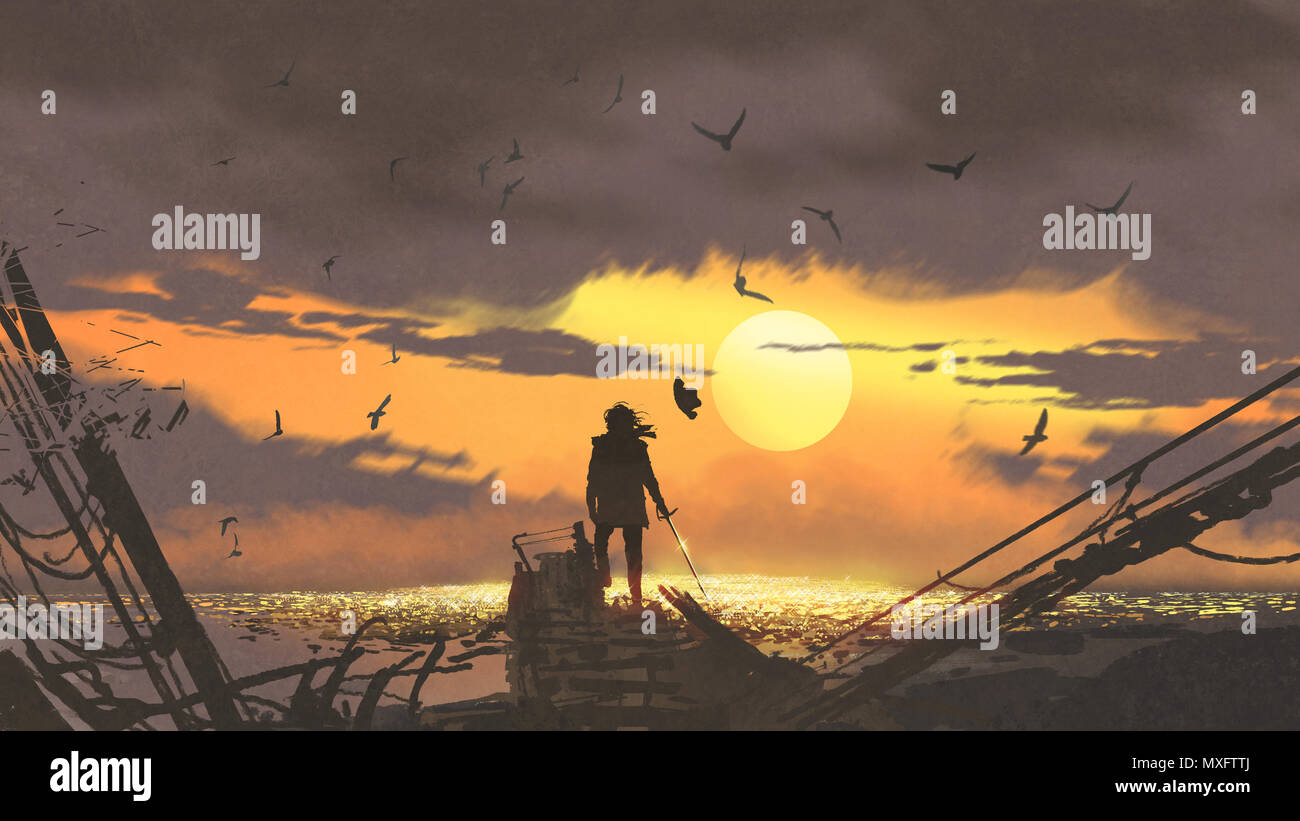 the pirate with a sword standing on ruins of boat and looking at golden treasures at sunset, digital art style, illustration painting - Stock Image