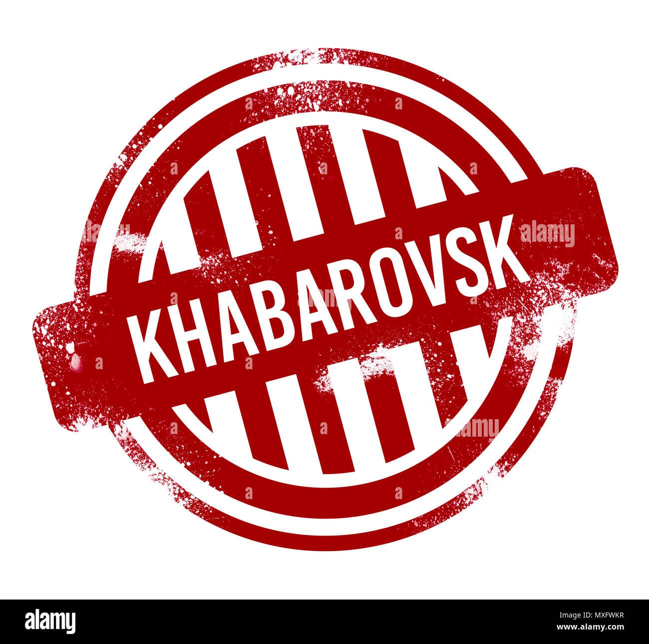 Khabarovsk - Red grunge button, stamp - Stock Image