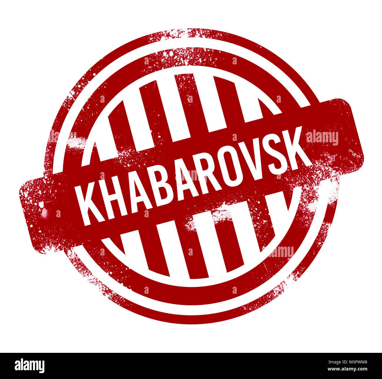 Khabarovsk Vtoroy - Red grunge button, stamp - Stock Image