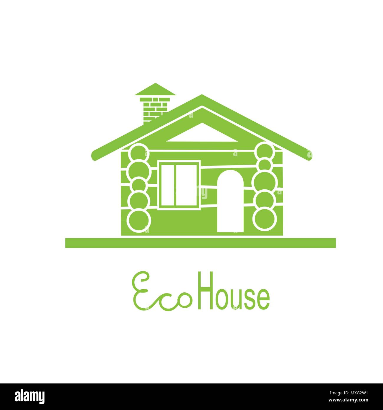 wooden eco house icon isolated on white - Stock Vector