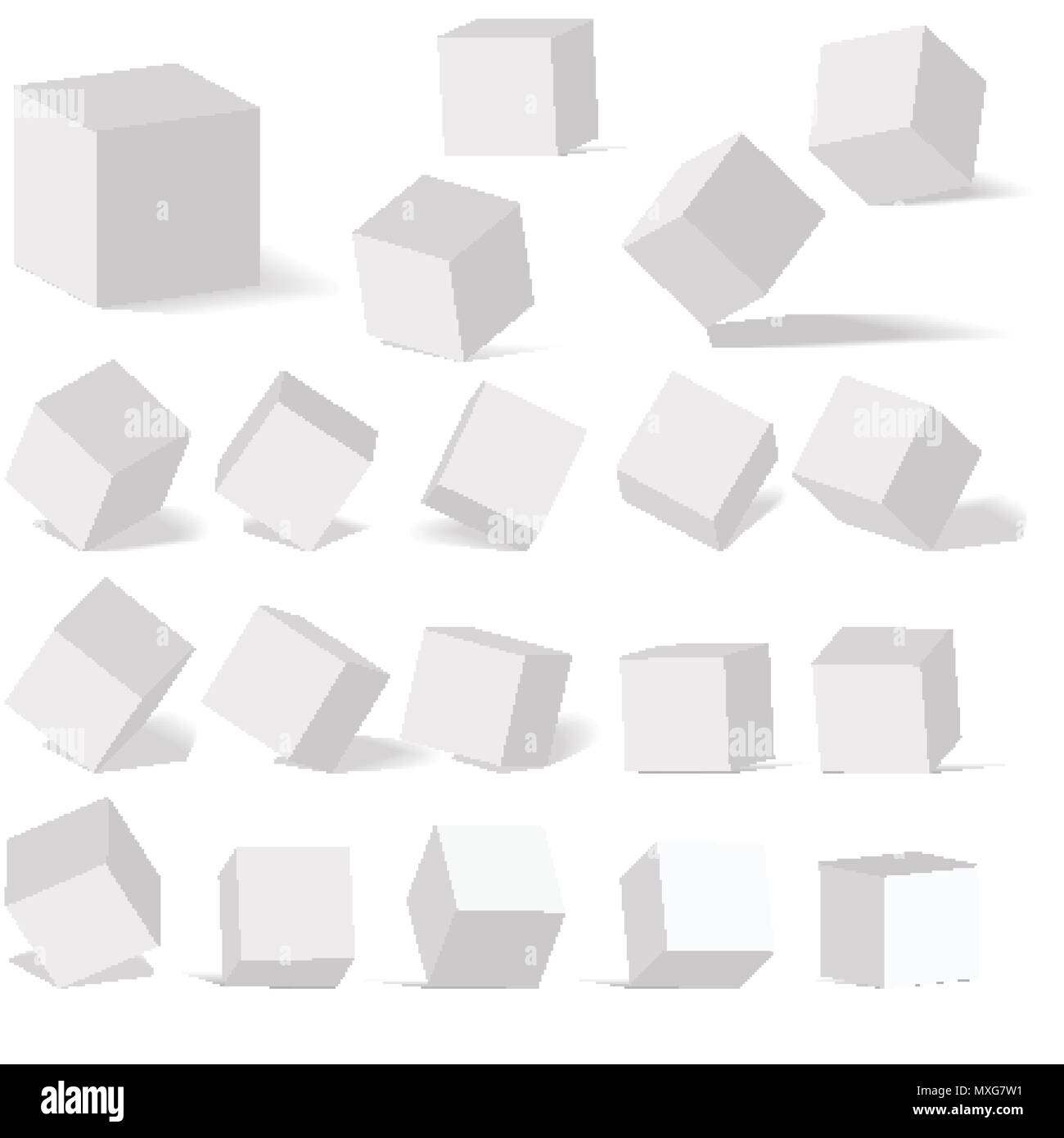 A set of cube icons with a perspective 3d cube model with a