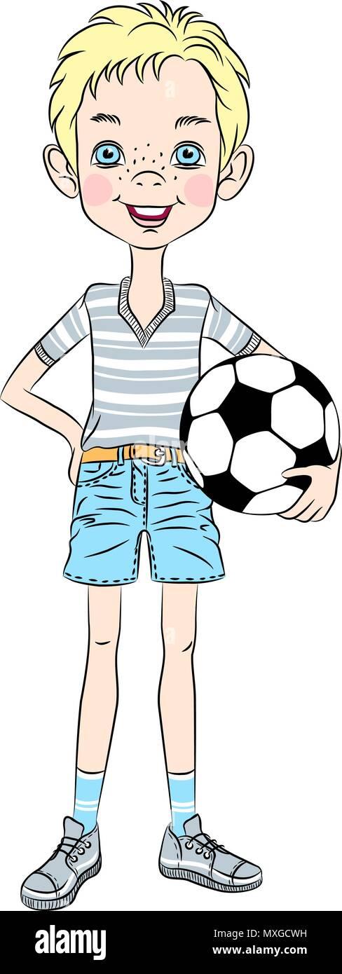 Vector sports boy with soccer ball Stock Vector