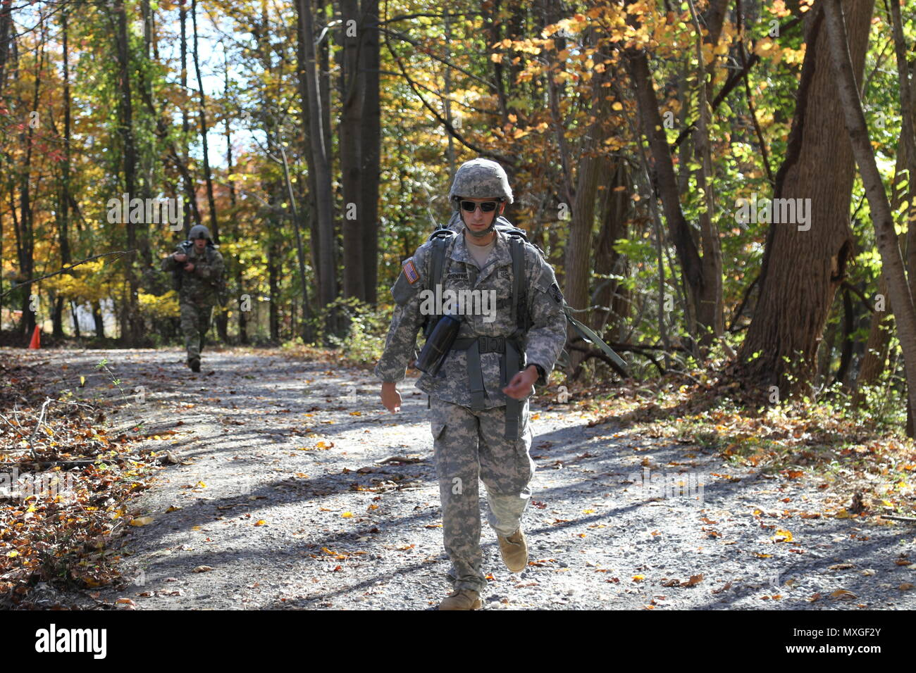 Soldier from the 58th Expeditionary Military Intelligence Brigade (EMIB) competed in the Soldier and Noncommissioned Officer and Company Grade Officer of the Year Competition, Nov. 5 at Gunpowder Military Reservation, Md. The day-long competition tested Soldiers on numerous warrior tasks and finalized with a seven mile ruck march and live-fire stress shoot. (Photos by Sgt. Devon Bistarkey, 58th EMIB Public Affairs) - Stock Image