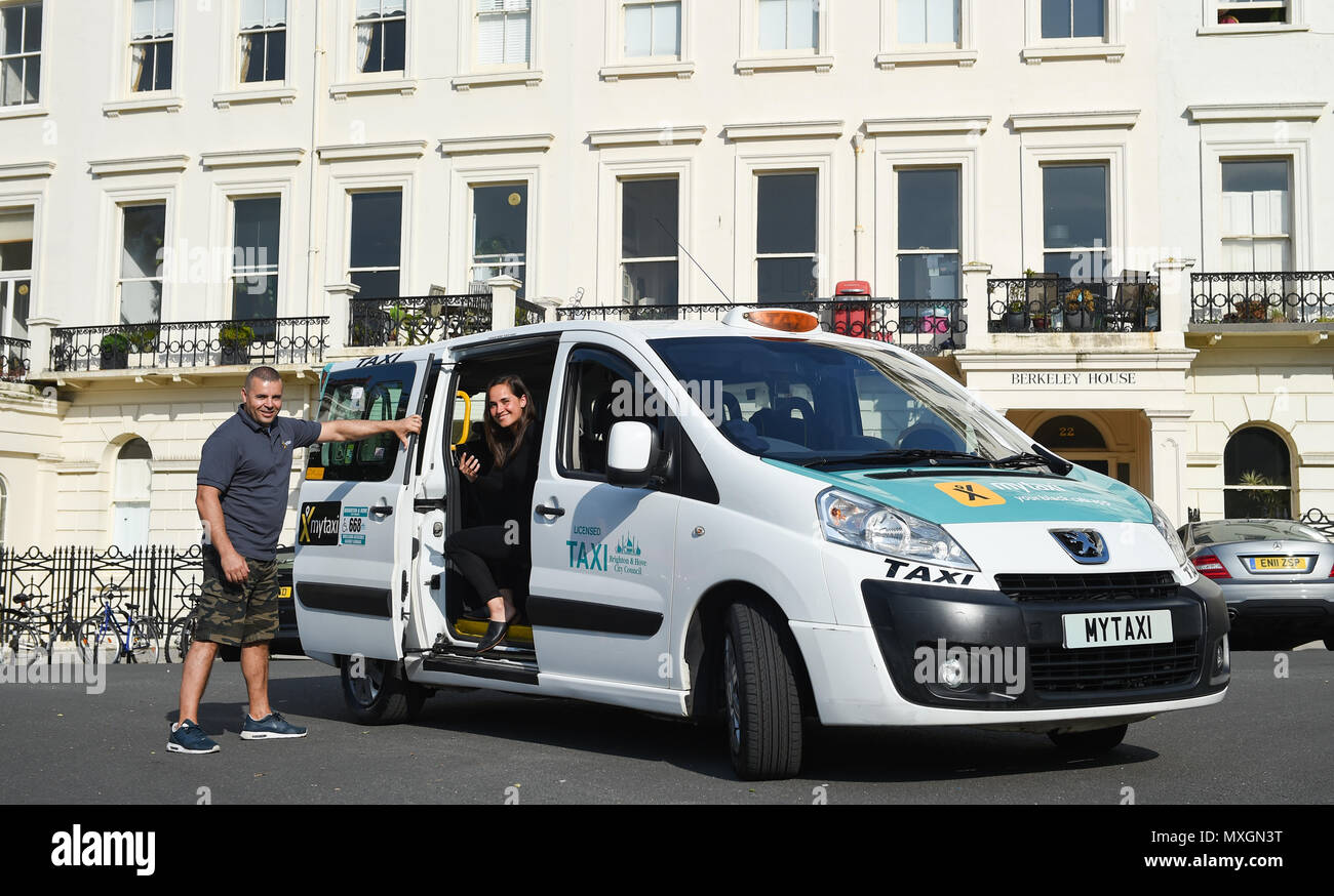 Brighton UK 4th June - mytaxi - your licensed taxi app