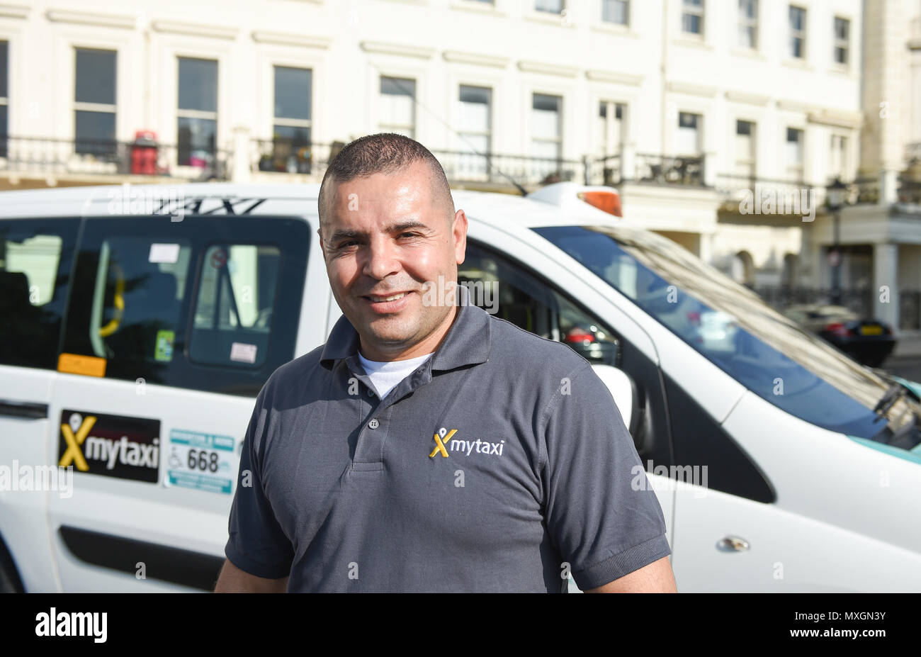 Brighton UK 4th June 2018 - mytaxi - your licensed taxi app