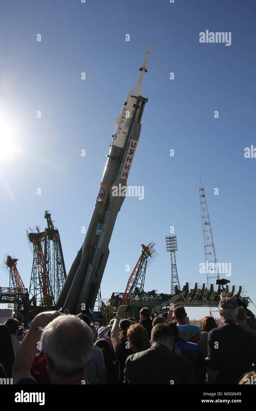 03 June 2018, Kazakhstan, Baikonur: The soyuz rocket that will depart for the International Space Station (ISS)on the 06 June 2018 with astronaut A. Gerst being erected on launch site number 1. Photo: Thomas Körbel/dpa - Stock Image