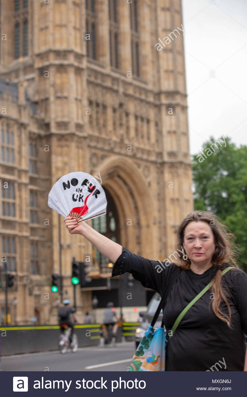 Protester holds a fan with 'No Fur in UK' written on it.  London, Great Britain, 04 Jun 2018 On the day that Parliament will have a debate on wether or not to ban the import of fur, activists organise a silent protest outside Parliament.   Credit: David Nash/Alamy Live News - Stock Image