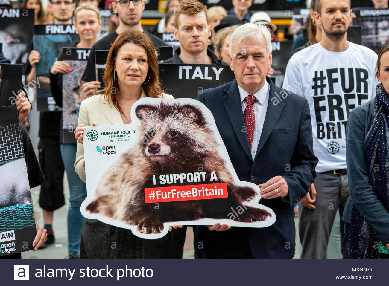London, Great Britain, 04 Jun 2018 Labour MPs John McDonnell and Sue Hayman join activists from Open Cages and Humane Society calling for the banning of the import of fur ahead of this afternoons debate.  Credit: David Nash/Alamy Live News - Stock Image