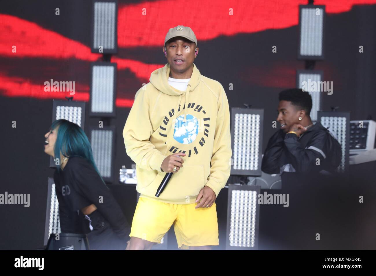 e8c19570f90d7 Pharrell Williams of N.E.R.D. on stage for 2018 Governors Ball Music  Festival - SUN