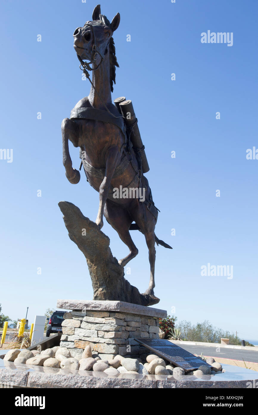 War horse Staff Sgt. Reckless monument at Pacific Views event center on Camp Pendleton, Calif., Nov. 3, 2016. (U.S. Marine Corps photo by Cpl. Tyler S. Dietrich) - Stock Image