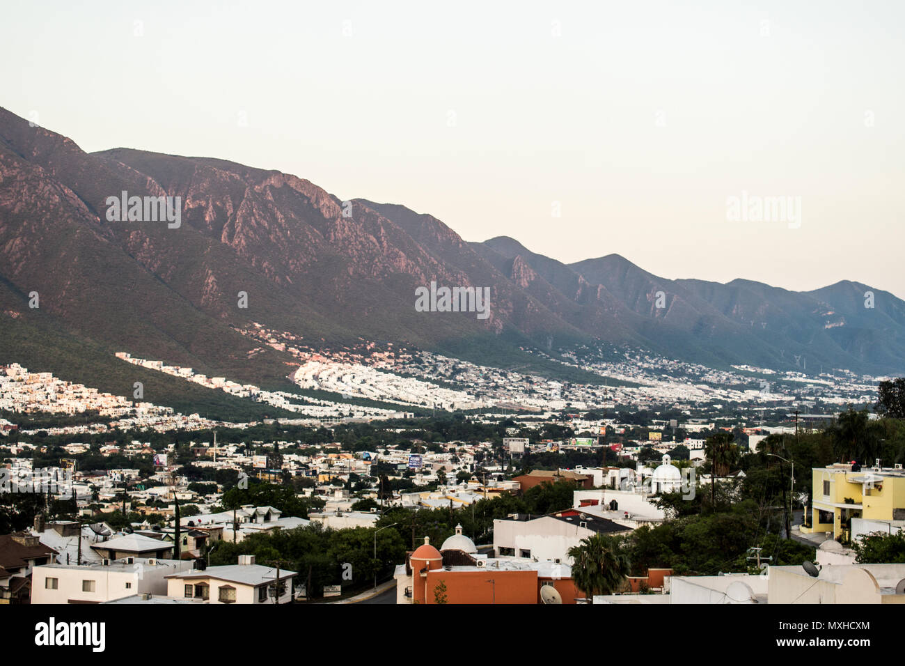 South part of the city of Monterrey, Nuevo Leon, Mexico. - Stock Image