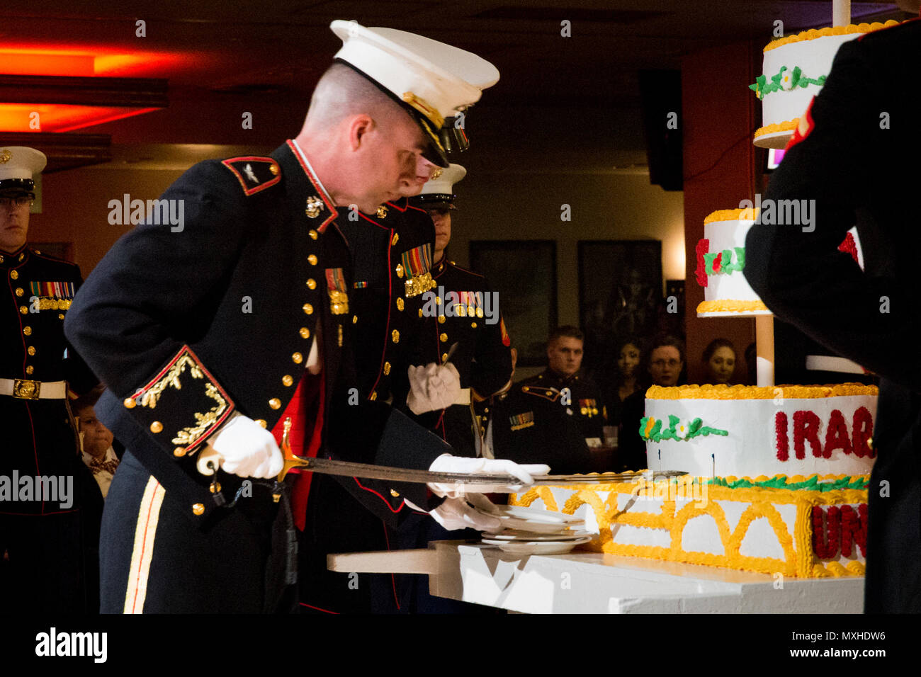 Tye R Wallace Commander Of The 31st Marine Expeditionary Unit Cuts A Birthday Cake As Part Corps Ball Ceremony At Camp Hansen
