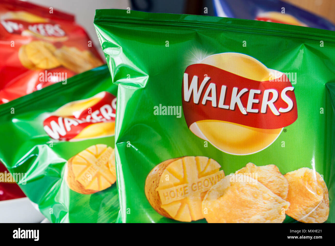 Walkers crisps packets assorted flavours - Stock Image