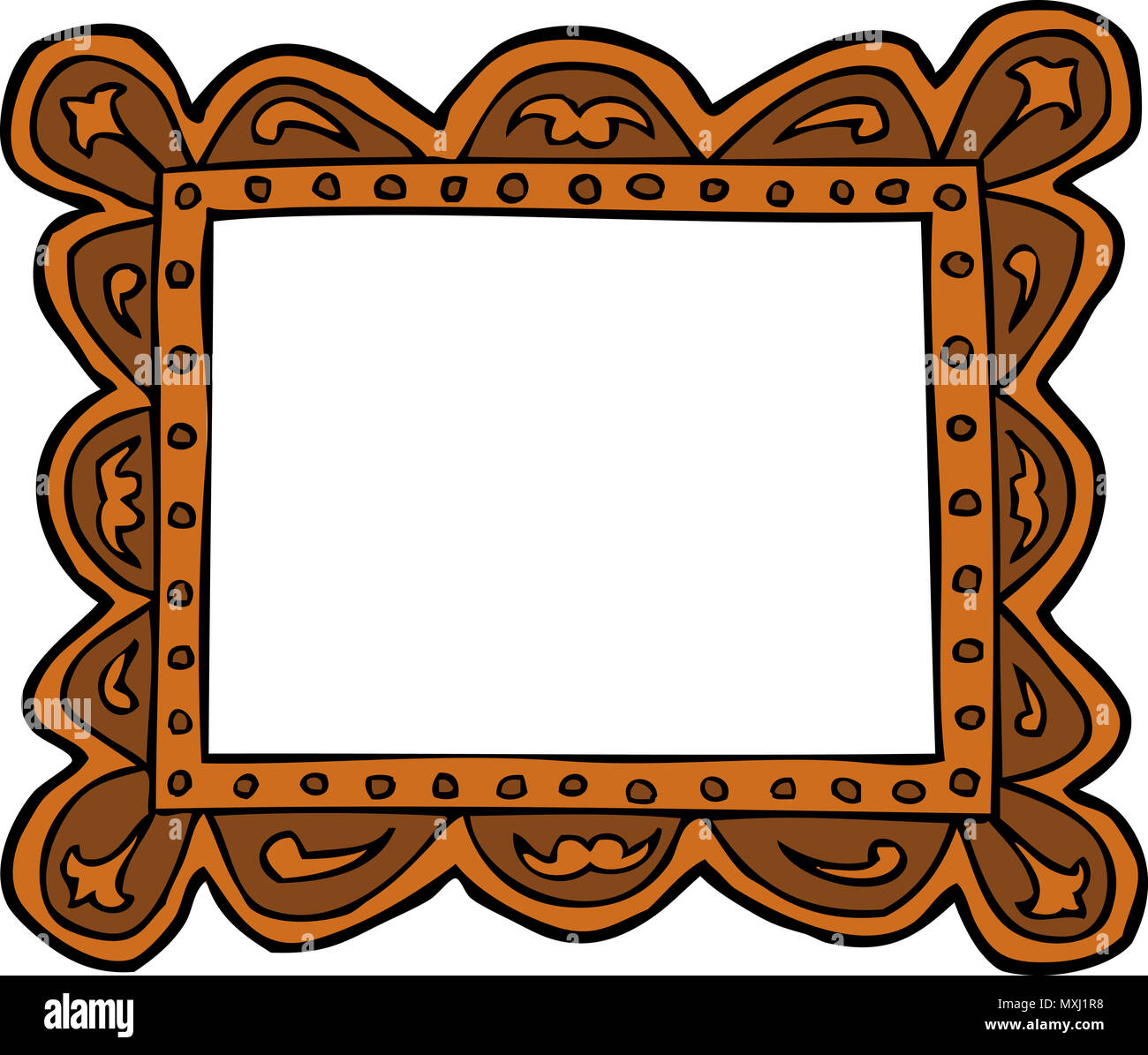 Cartoon doodle picture frame on a white background raster version ...