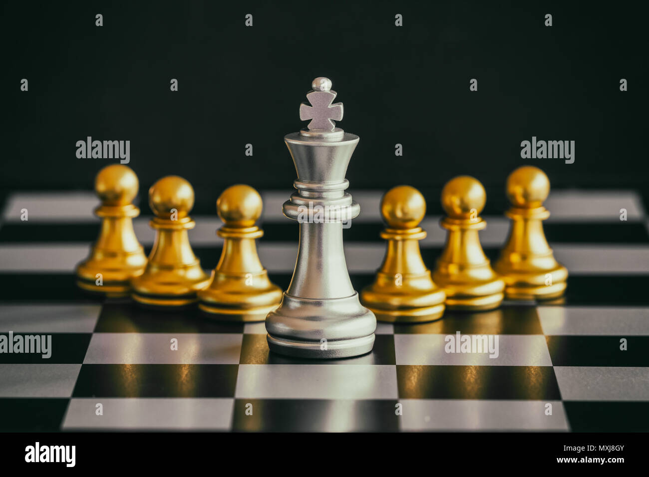 Strategy chess battle Intelligence challenge game on chessboard. Success the strategy concept. Chess business leader and success idea. Chess strategy  - Stock Image