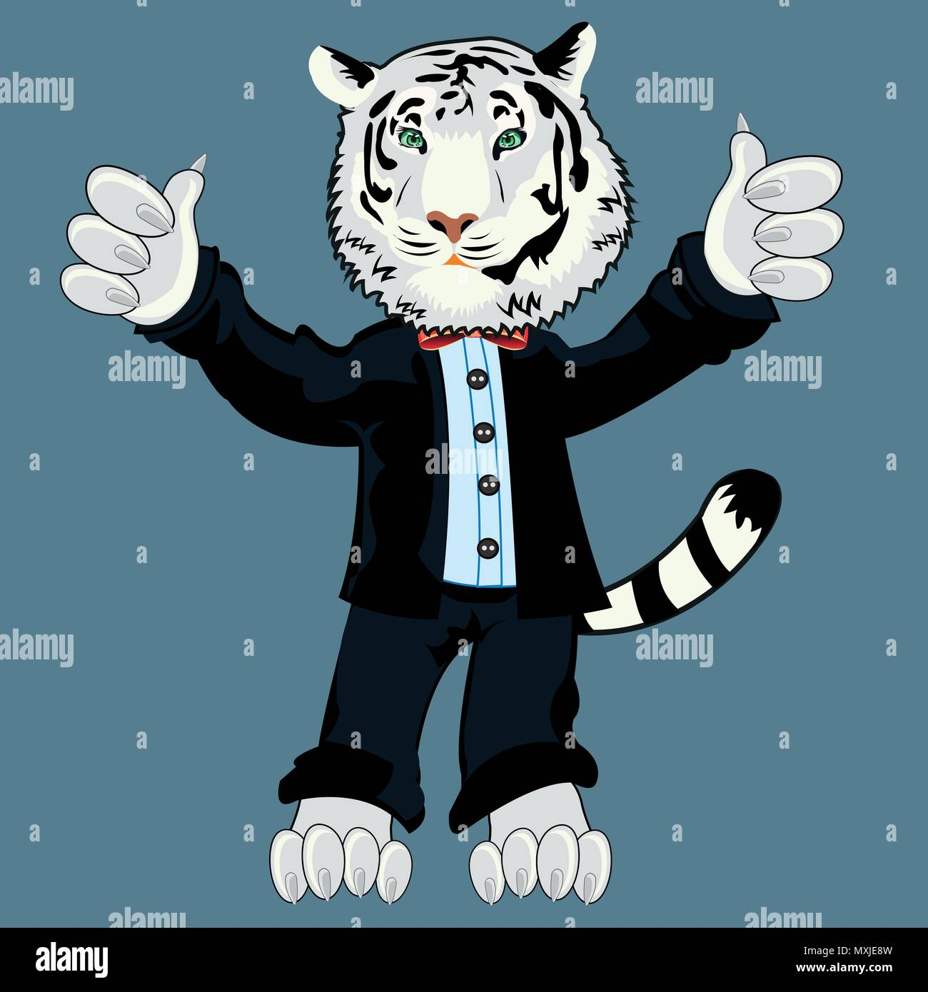 Tiger albino in suit - Stock Image