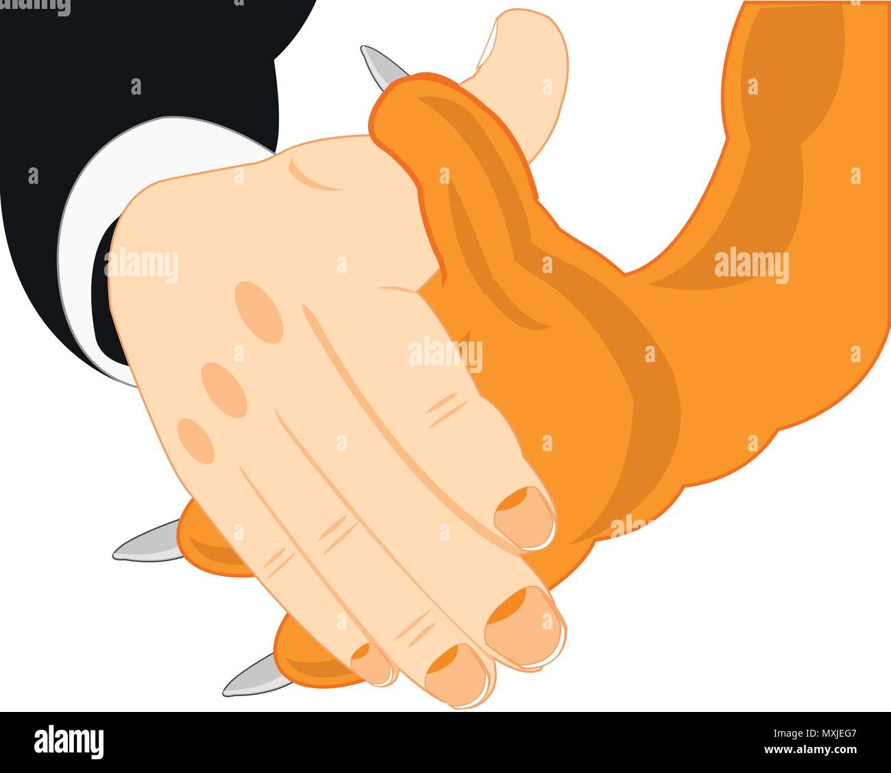Handshake of the person and beast - Stock Vector