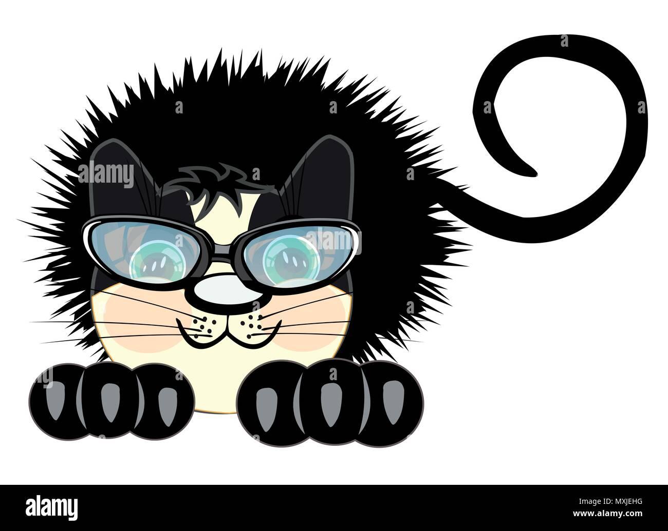 Ruffled black cat Stock Vector