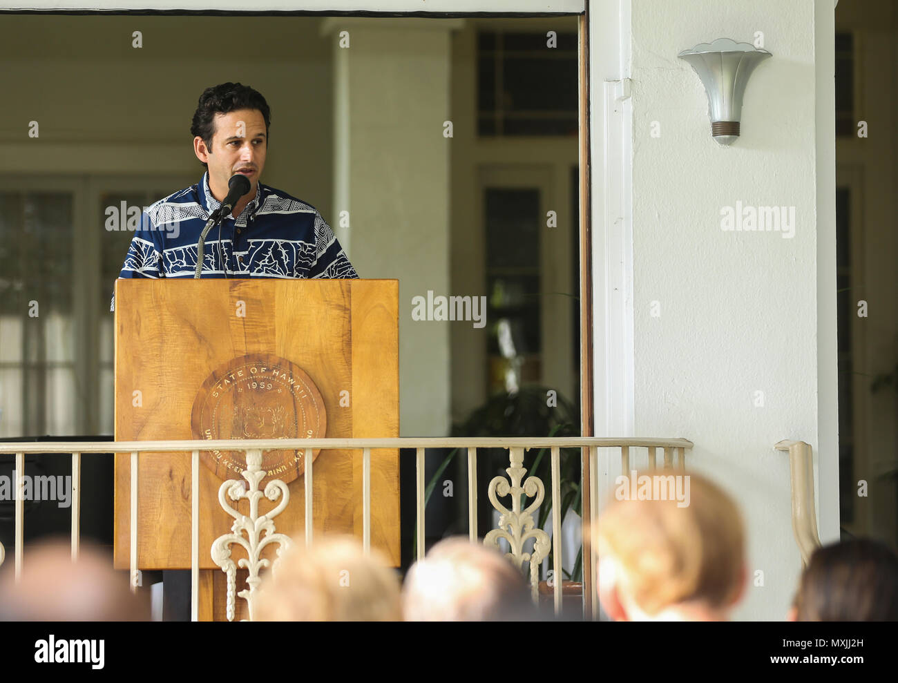 U.S. Sen. Brian Schatz speaks during Dr. Ernest James Harris, Jr.'s Congressional Gold Medal ceremony in Honolulu Nov. 12, 2016. Harris was awarded his Congressional Gold Medal for his service as a Montford Point Marine. (U.S. Marine Corps photo by Cpl. Wesley Timm) - Stock Image