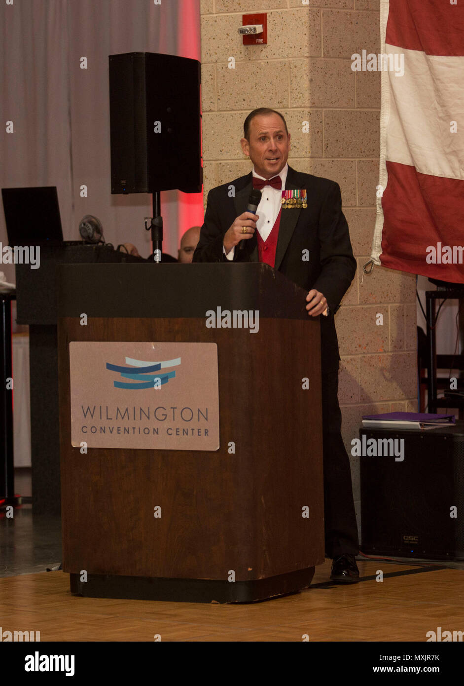 Retired U.S. Marine Corps Sgt. Maj. Scott L. Theakston, gives a speech during the Headquarters Battalion, 2d Marine Division 241st Marine Corps Birthday Ball, Wilmington Convention Center, Wilmington, N.C., Nov. 12, 2016. The Marine Corps has carried 241 years of traditions, values and standards since its establishment in 1775. (U.S. Marine Corps photo by Lance Cpl. Ursula V. Estrella) Stock Photo