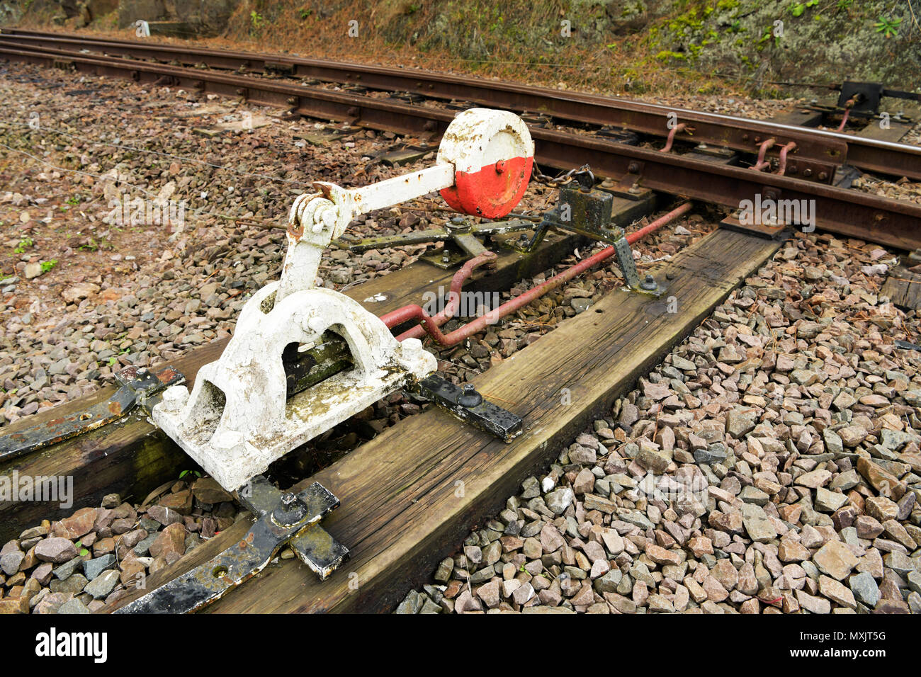 Close-up, detail, vintage railroad switchgear to change tracks for train shunting - Stock Image