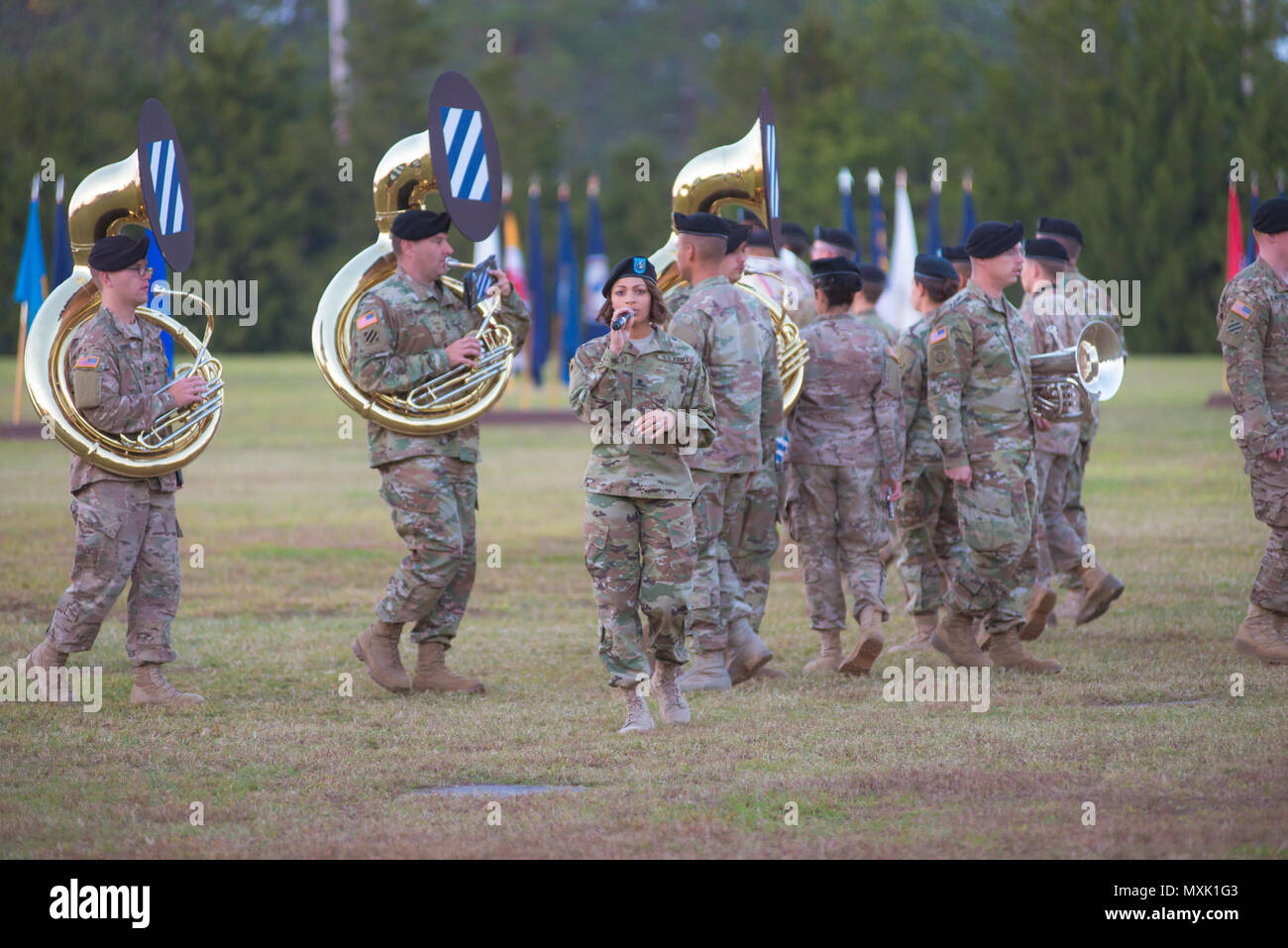 Soldiers perform during the 3rd Infantry Division Twilight Tattoo during Marne Week at Fort Stewart Nov. 15, 2016. Twilight Tattoo is a ceremony honoring veterans and family members. (Photo by LTC Brian J. Fickel) - Stock Image