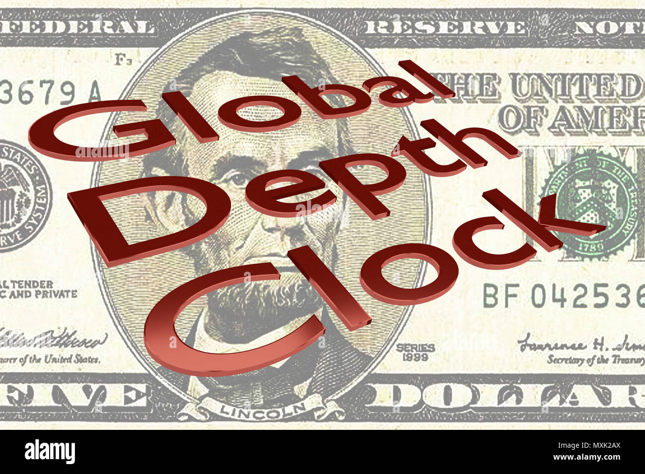 3D illustration of Global Debt Clock title on Five Dollars bill as a background - Stock Image