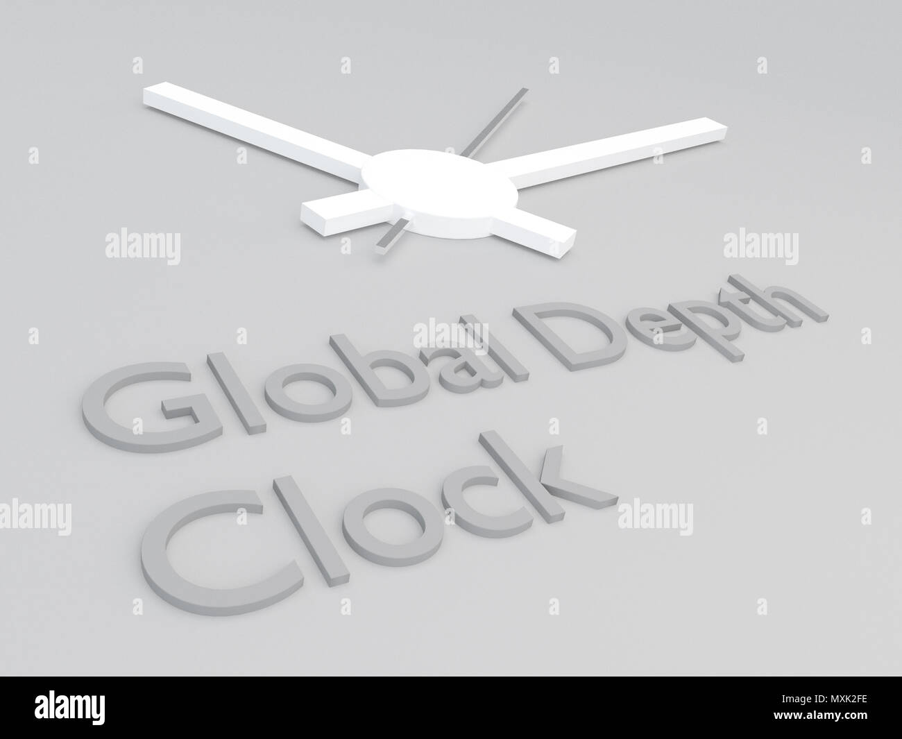 3D illustration of Global Debt Clock title with a clock as a background - Stock Image