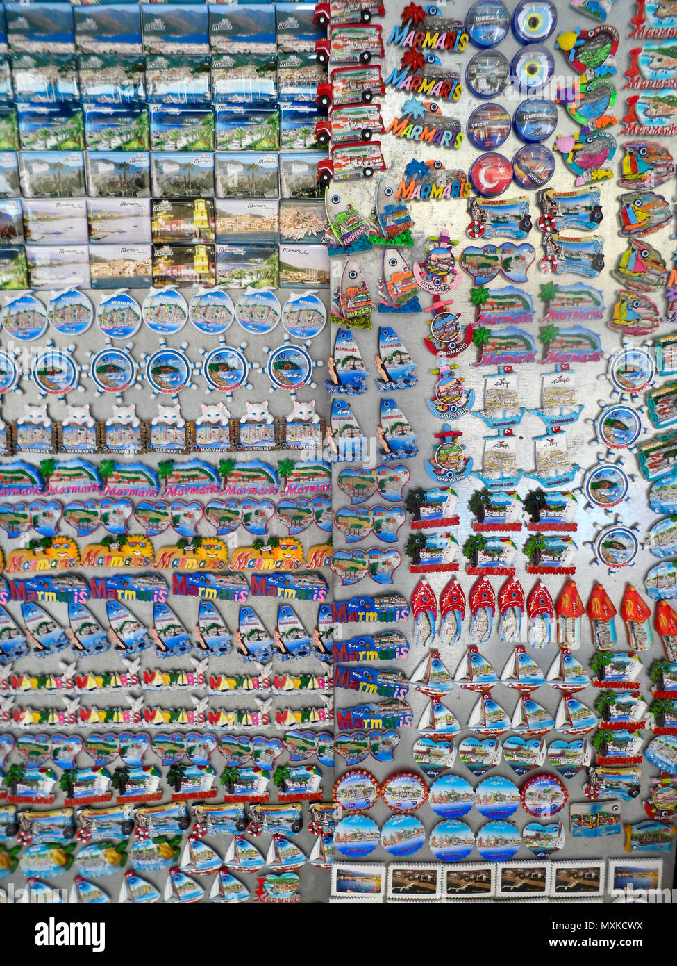 A tourist shop display of fridge magnets for sale in Marmaris, Mugla province, Turkey Stock Photo