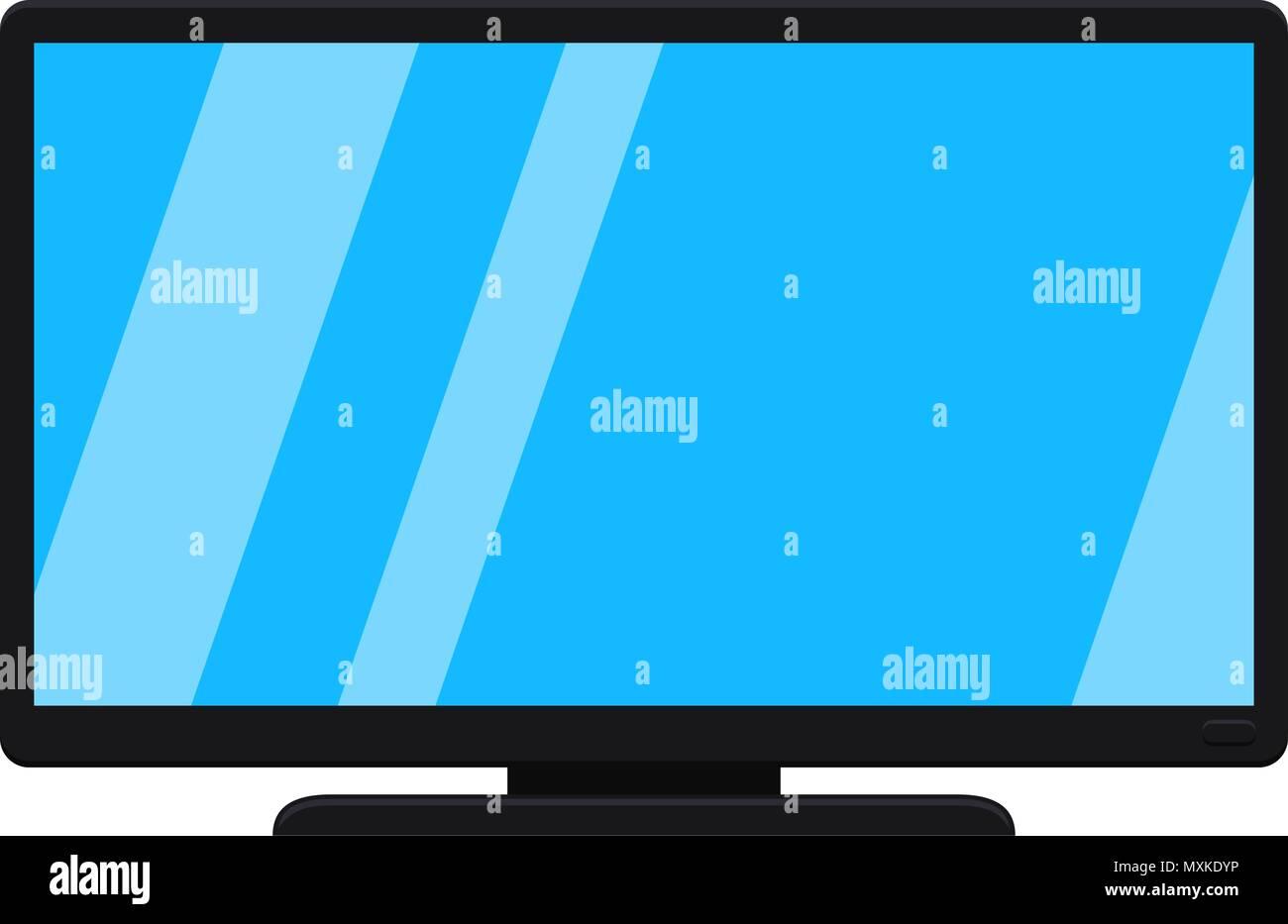 Cartoon Black Modern Tv Isolated On White Stock Vector Image Art Alamy