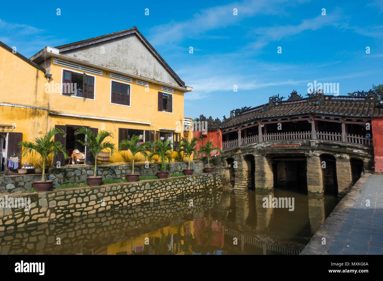 Chua Cau (the Pagoda Bridge) or The Japanese Covered Bridge in Hoi An is one of the famous tourist attractions in Hoi An, Vietnam - Stock Image
