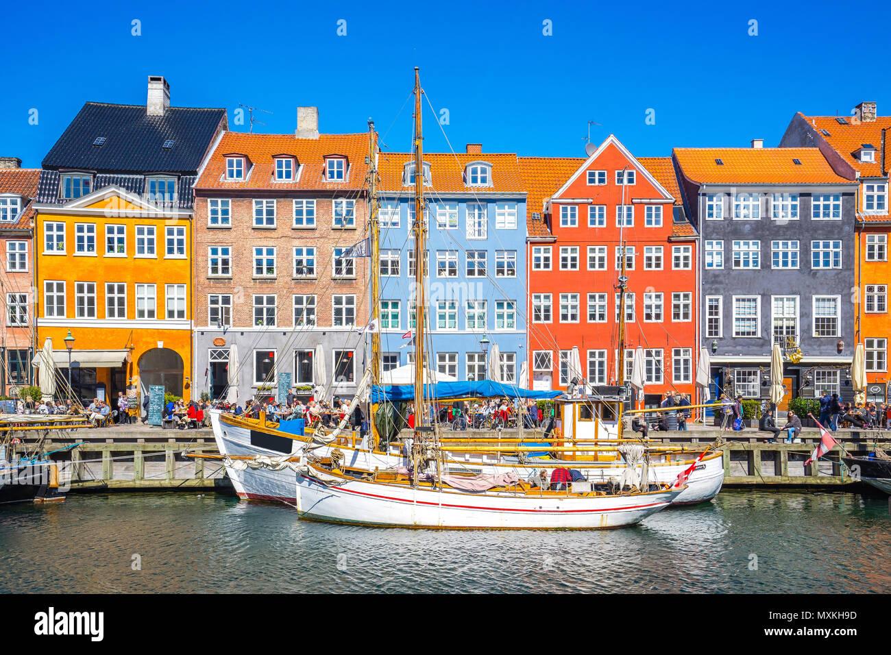 Nyhavn the waterfront canal in Copenhagen, Denmark. - Stock Image