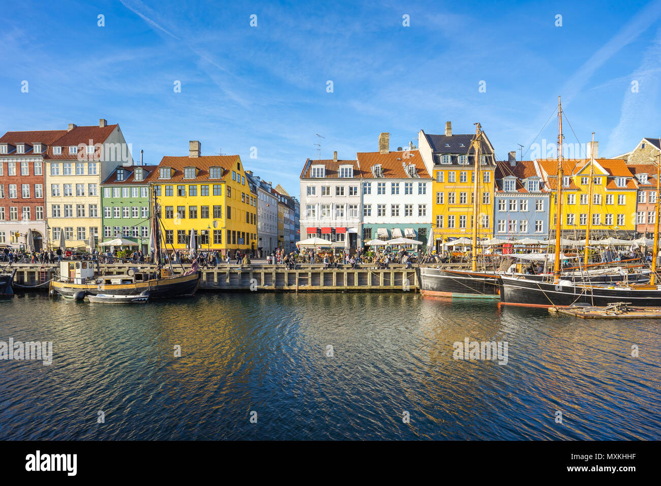 Copenhagen city with view of Nyhavn in Copenhagen, Denmark. - Stock Image