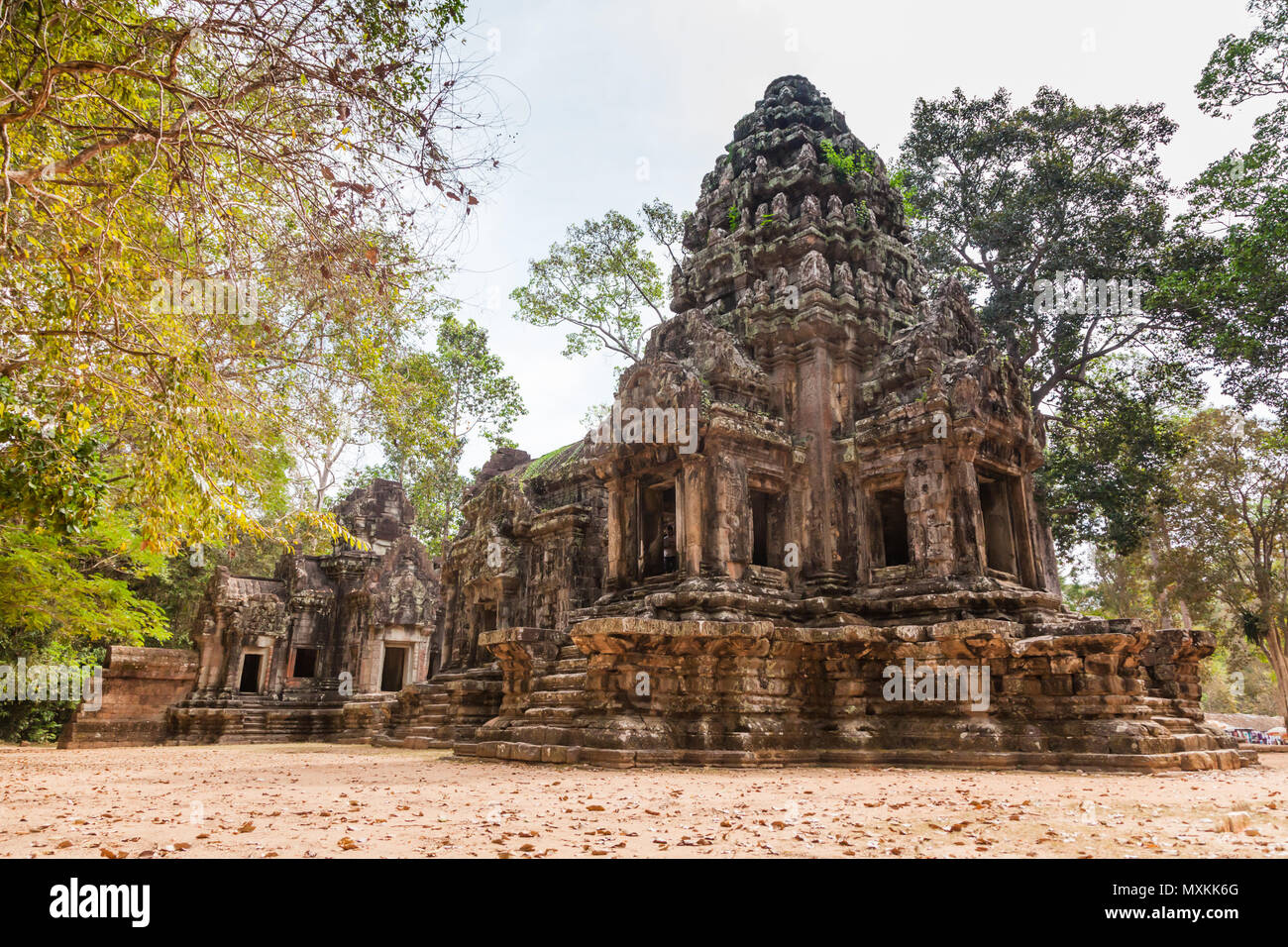SIEM REAP - JANUARY 04, 2015: Historic ruins with ornate stone carvings at Angkor complex on january 04, 2015 in Siem Reap, Cambodia. - Stock Image