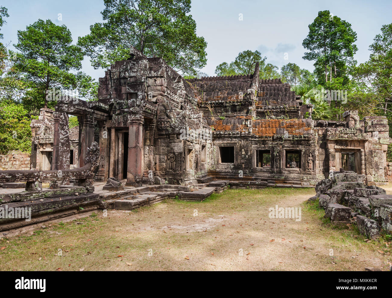 SIEM REAP - JANUARY 04, 2015: Historic ruins with ornate stone carvings of Ta Prohm Temple at Angkor complex on january 04, 2015 in Siem Reap, Cambodi - Stock Image