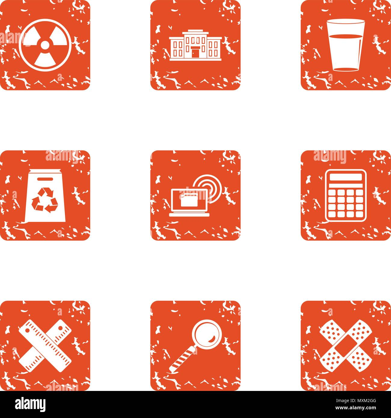 Polymer icons set, grunge style - Stock Vector