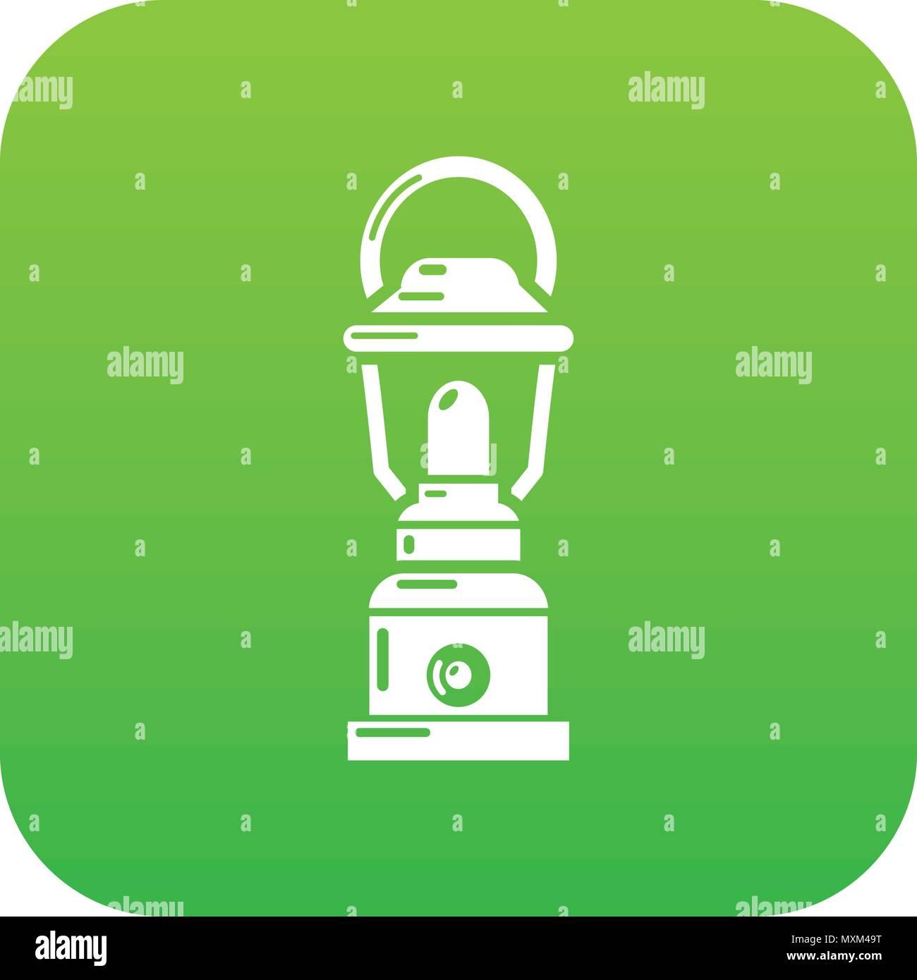 Kerosene lamp icon green vector - Stock Vector