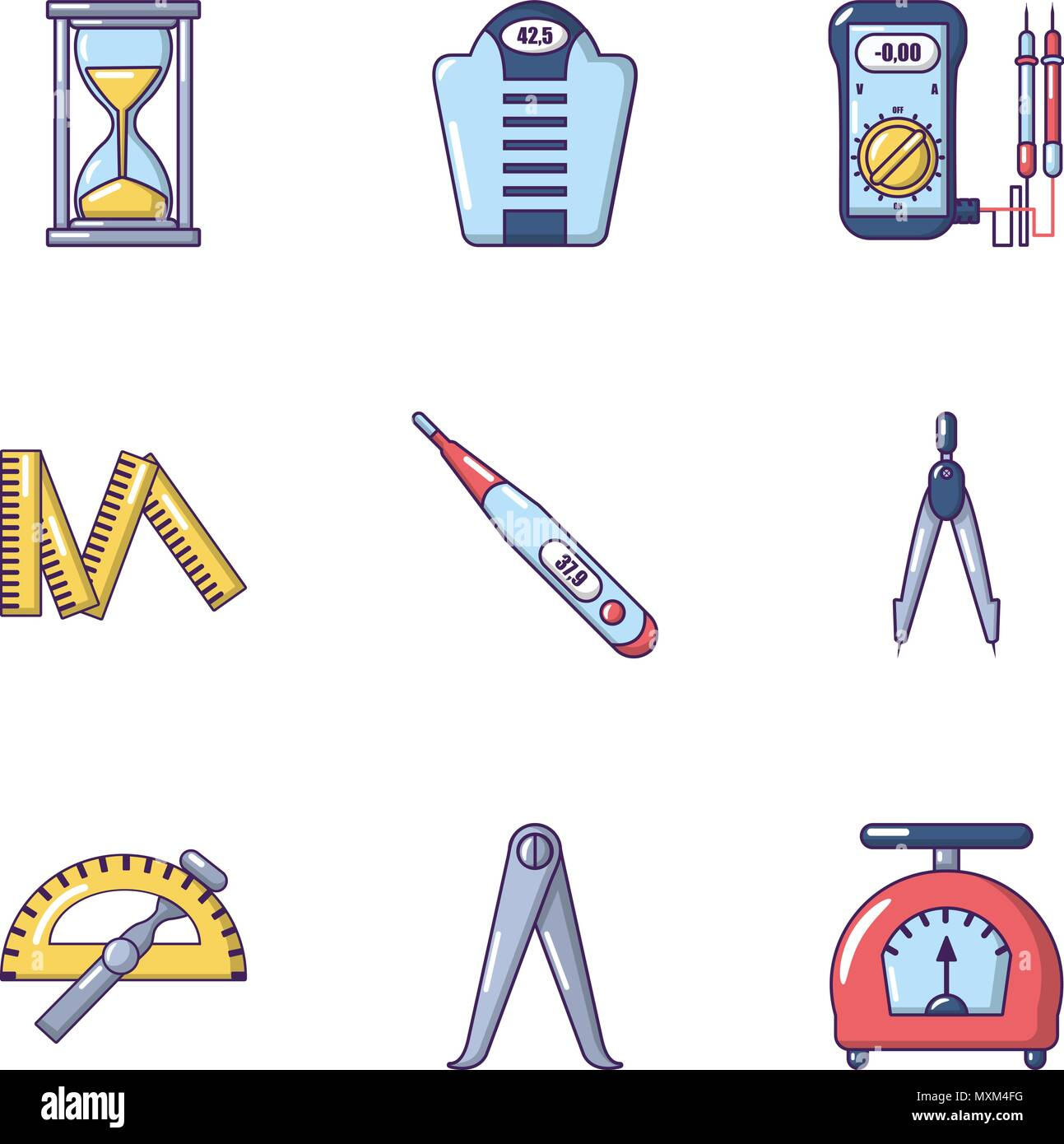 Measure icons set, cartoon style - Stock Vector