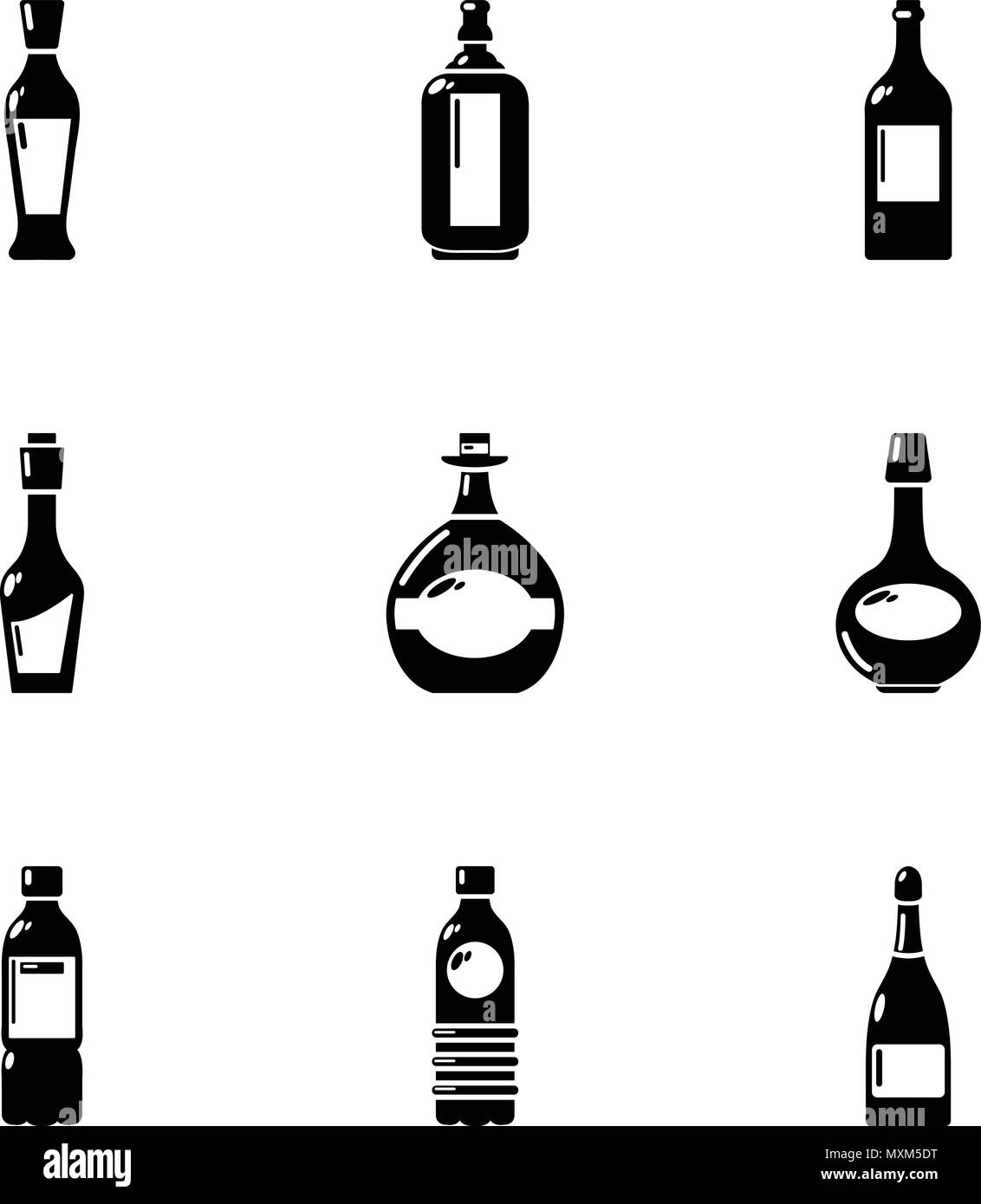 Alcohol retort icons set, simple style - Stock Image