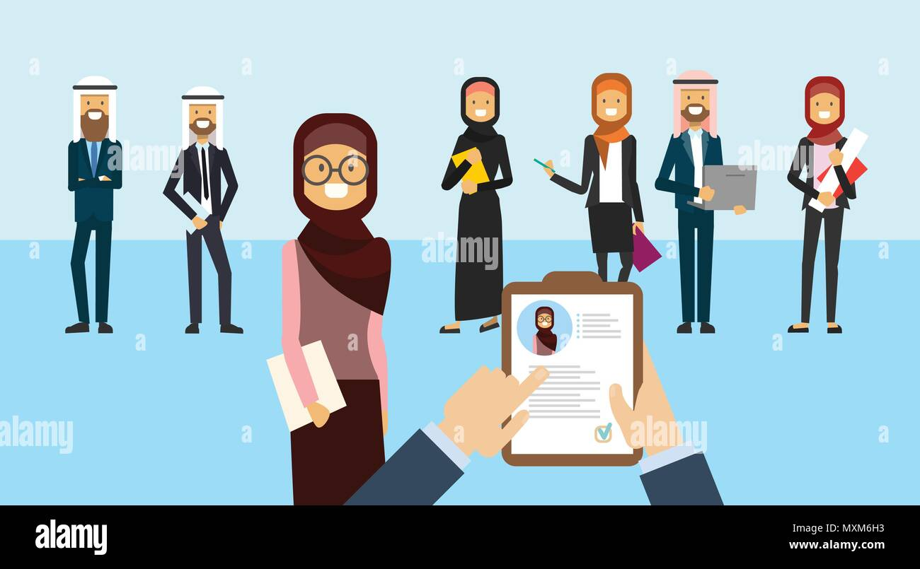arab curriculum vitae recruitment candidate job position hands hold cv profile choose from arabic group of business people to hire businesswoman interview