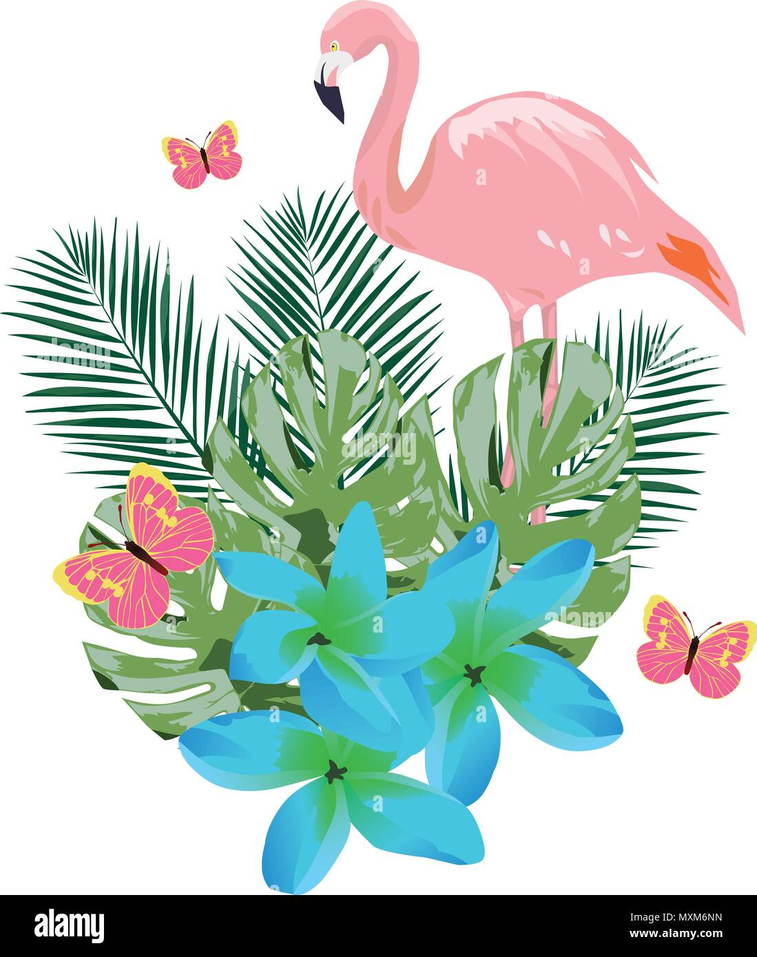 Vector Illustration Of A Flamingo Blue Tropical Flowers And Pink