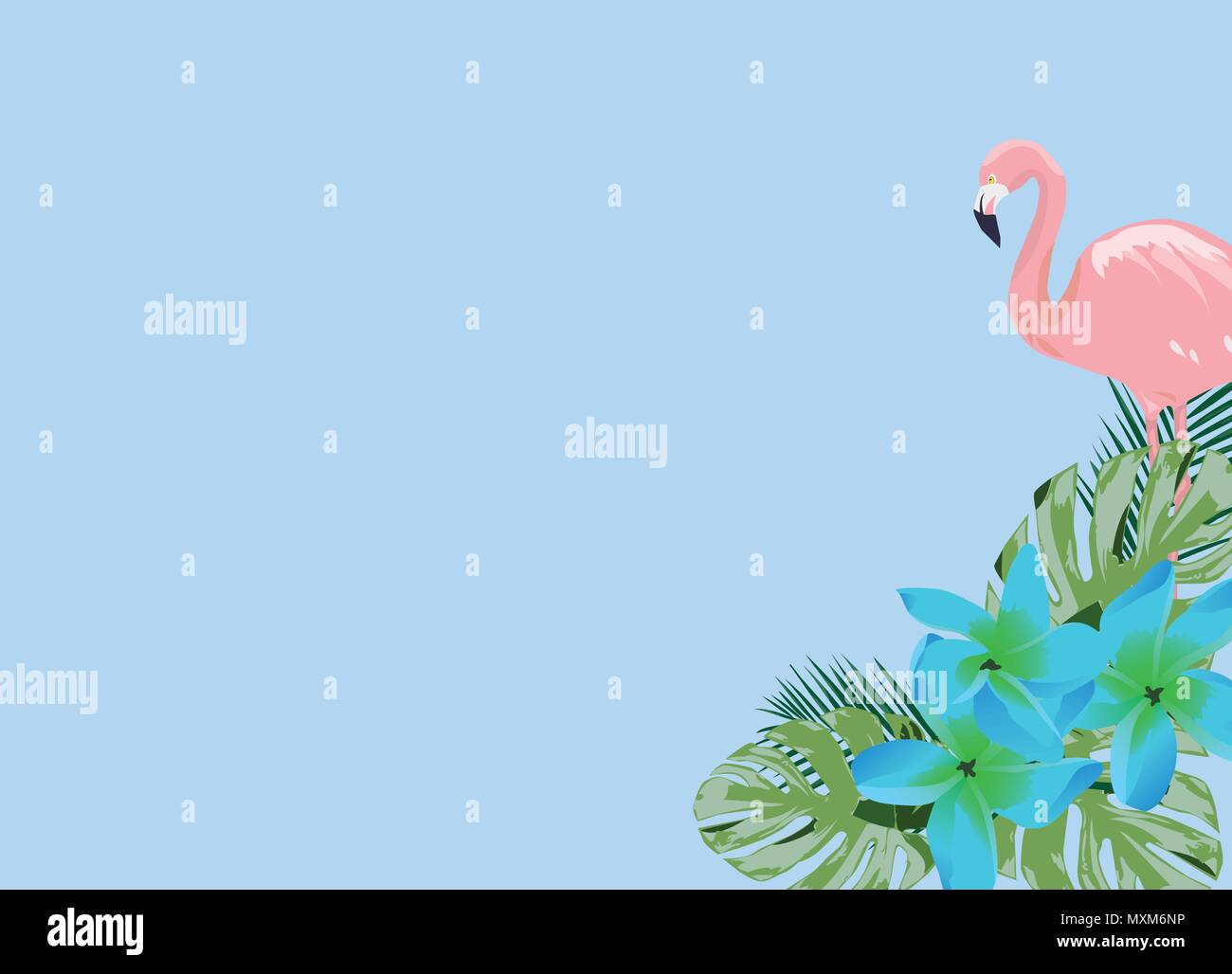 Vector Illustration Of A Flamingo And Blue Tropical Flowers Stock