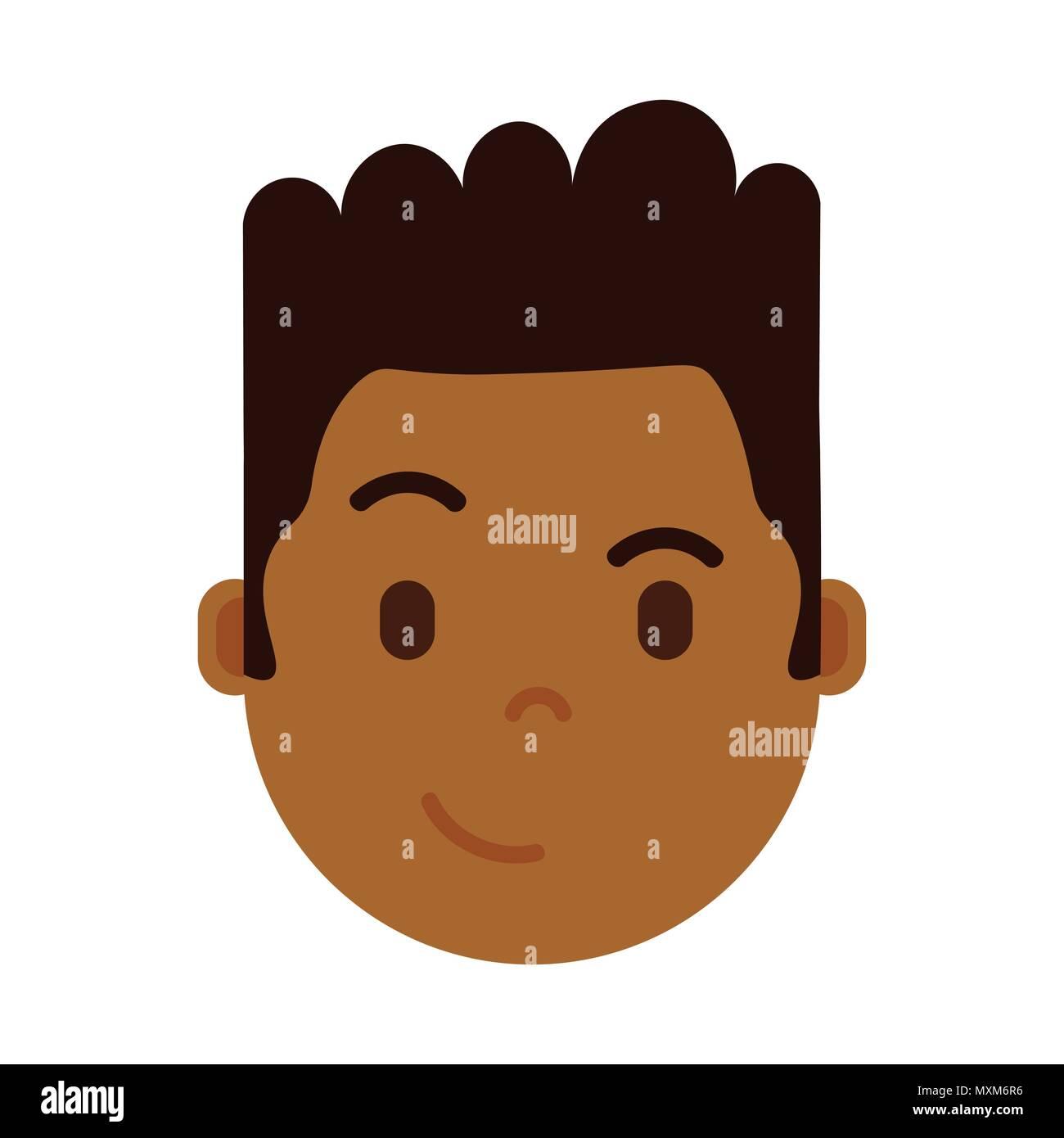 african boy head emoji personage icon with facial emotions